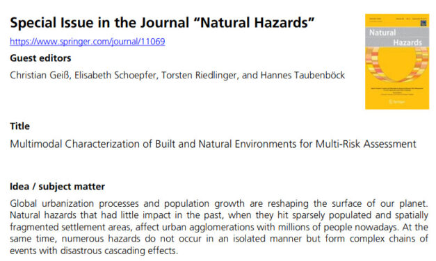 """Special Issue in the Journal """"Natural Hazards"""""""